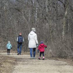A family hiking at Pike Lake