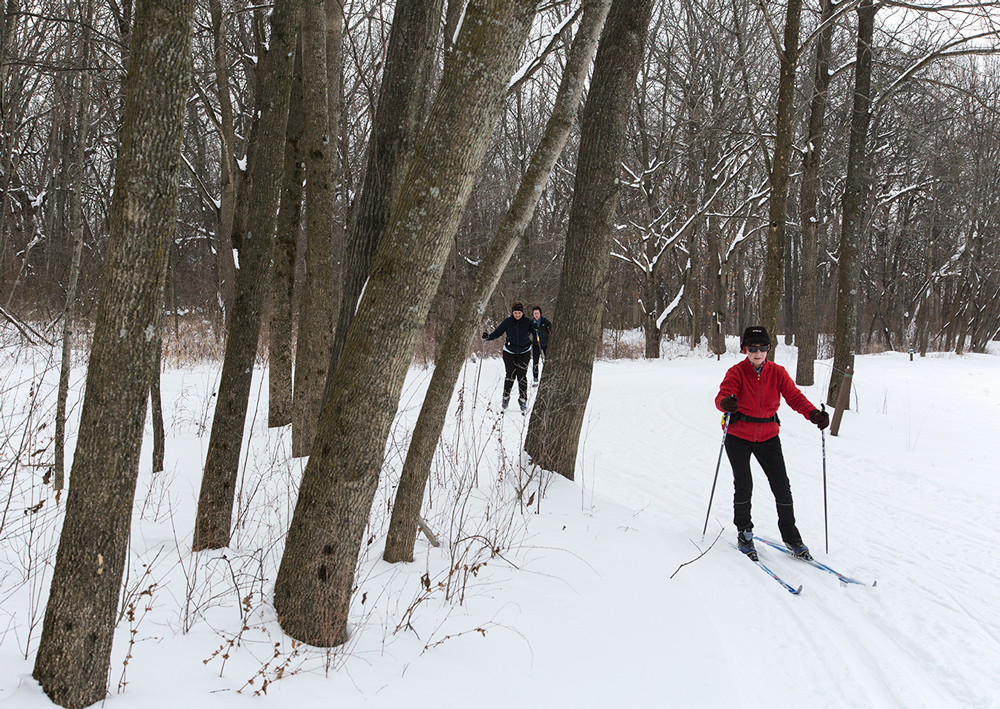 Cross-country skiers at Minooka Park, Waukesha, Waukesha County Parks