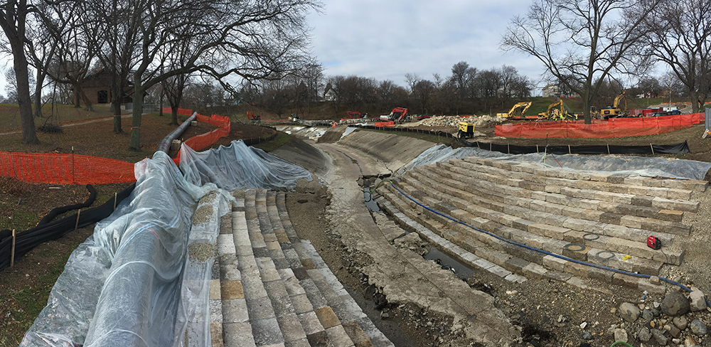 River restoration by MMSD, Pulaski Park, Milwaukee, Milwaukee County Parks