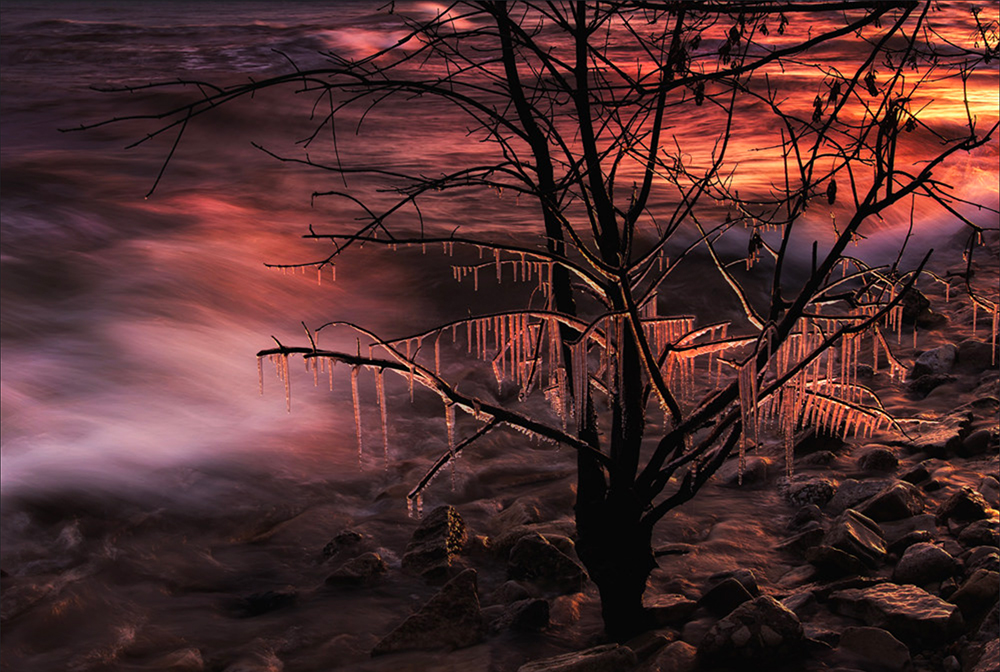 Sunrise with ice