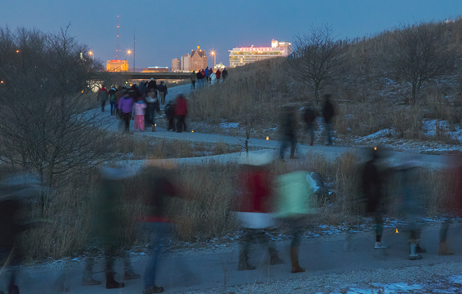 Urban Candlelight Hike at Three Bridges Park, Milwaukee, designed by Wenk and Associates