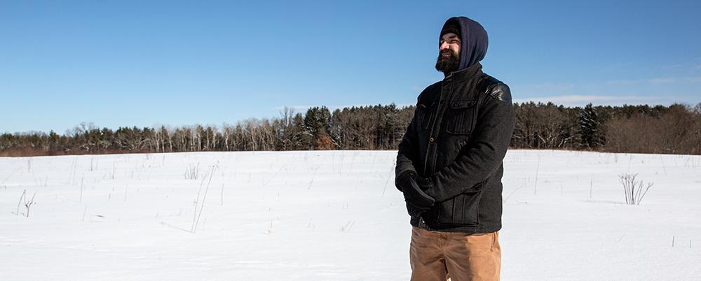 Todd Mrozinski on the prairie in winter.