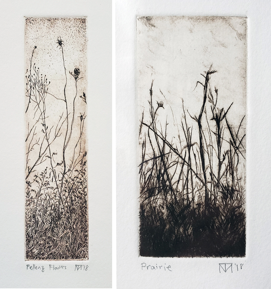 Left: Fellenz Flowers, etching. Right: Prairie, drypoint.