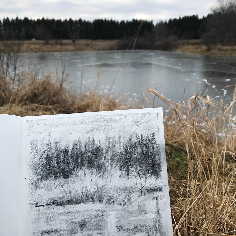 Field drawing, charcoal