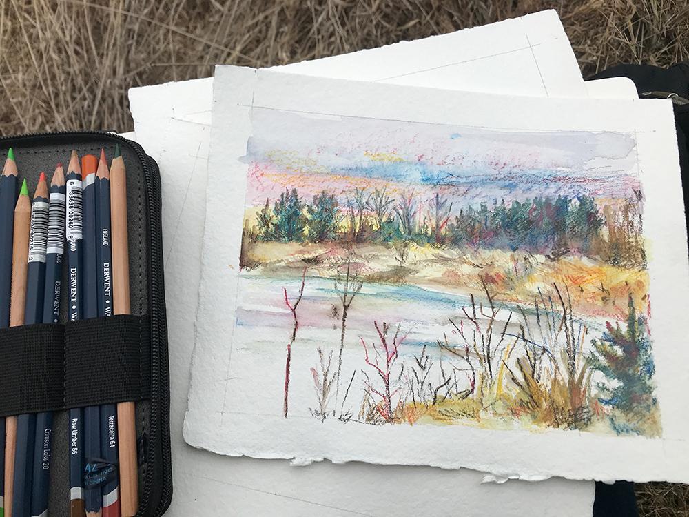 """Spirit Lake 4,"" watercolor in progress"