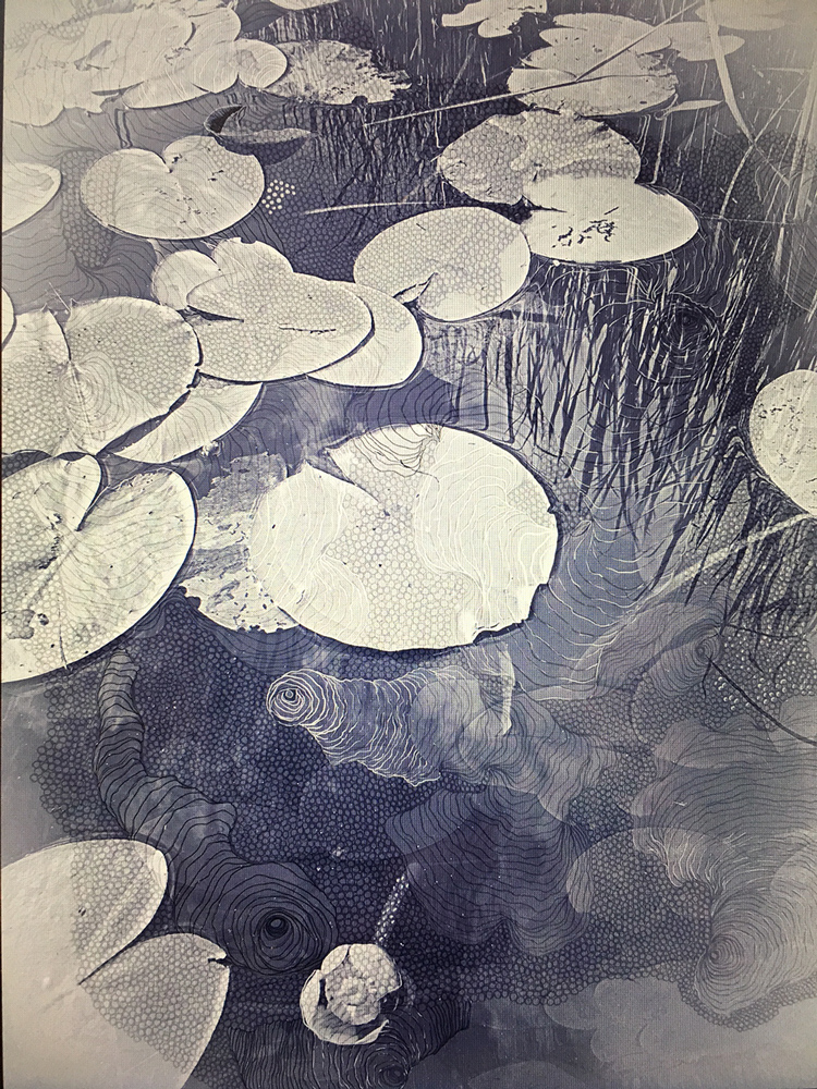drawing and mixed media artwork of lily pads