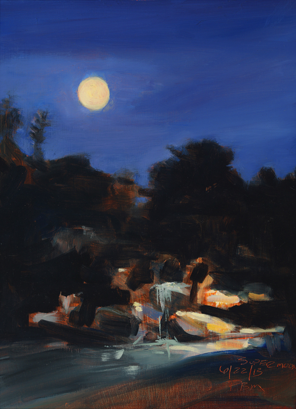oil painting of landscape at night with moon