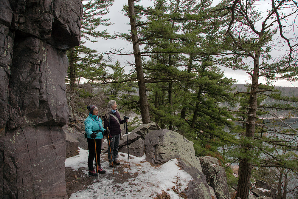 two hikers on Ice Age Trail / Balanced Rock Trail