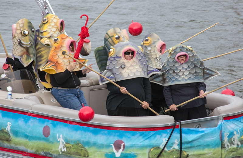 boat decorated with fish