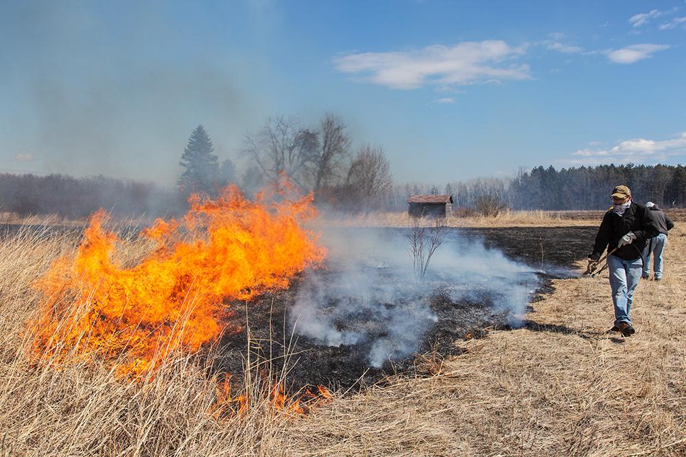 Volunteers monitoring the burn