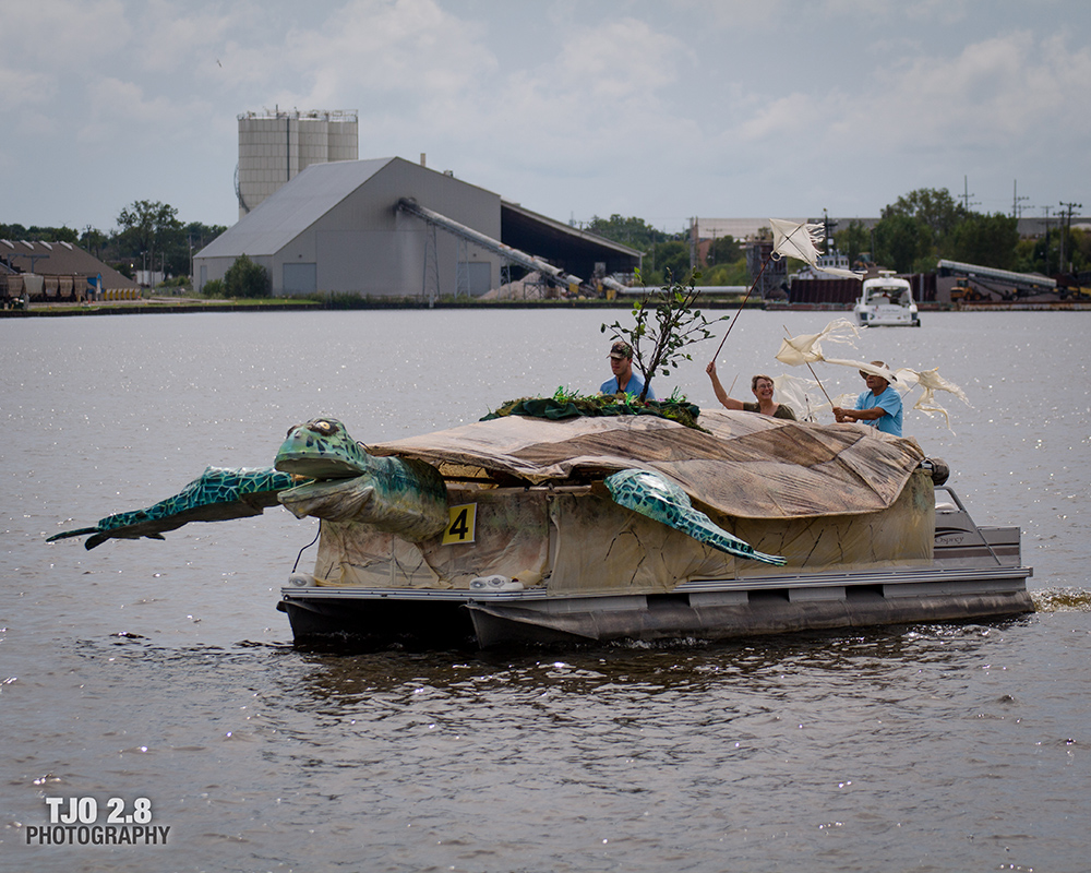 boat decorated as a turtle