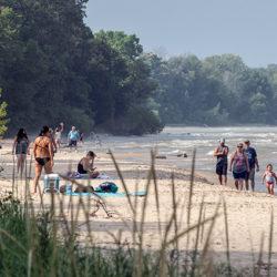 bathers on beach at Harrington Beach State Park