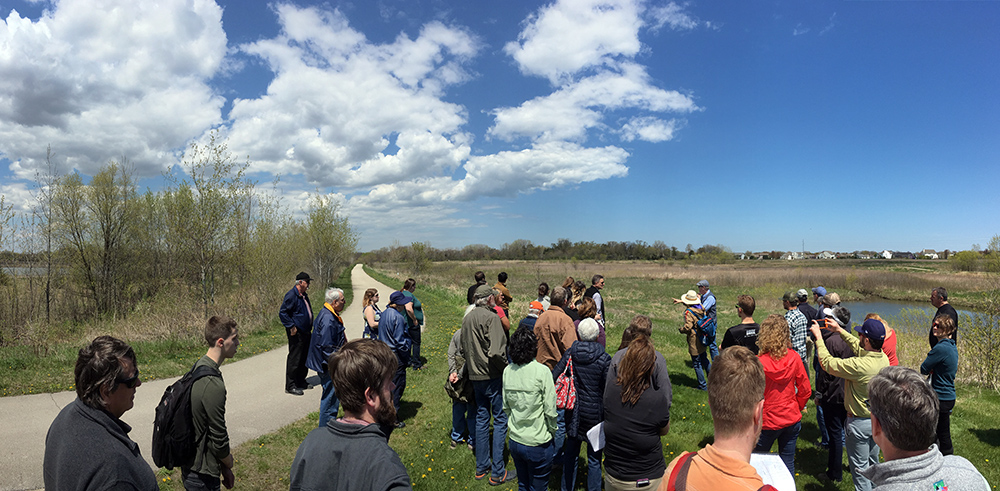 Tour group at North Branch of Pike River restoration site