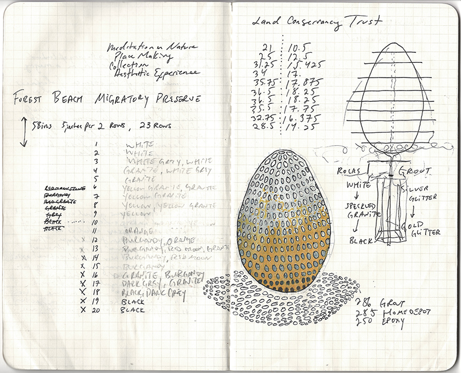 A page of the artist's notebook with a sketch of an egg-shaped sculpture and notes