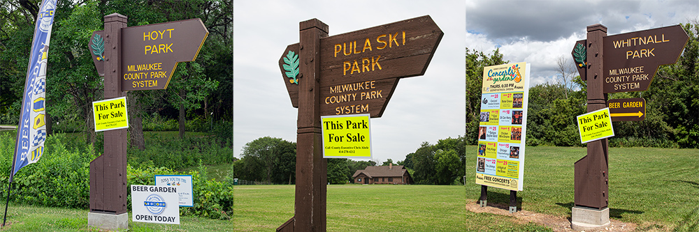"Hoyt Park, Pulaski Park and Whitnall Park signs with ""For Sale"" signs attached to them"