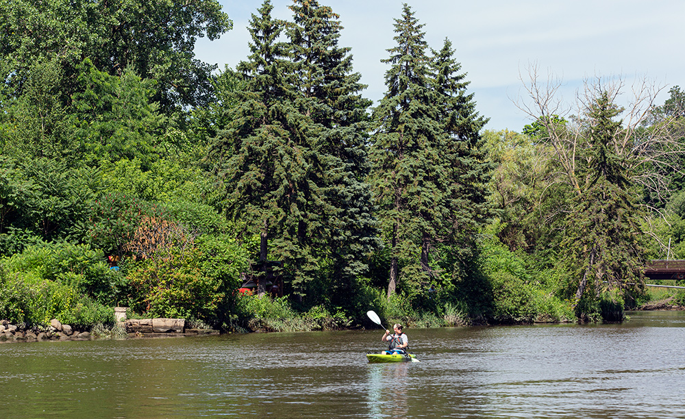 A kayak on the Milwaukee River at the wooded shore of Turtle Park near downtown Milwaukee
