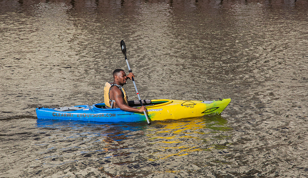 a male kayaker paddling