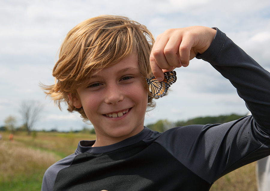 a boy holding a monarch butterfly by the wings