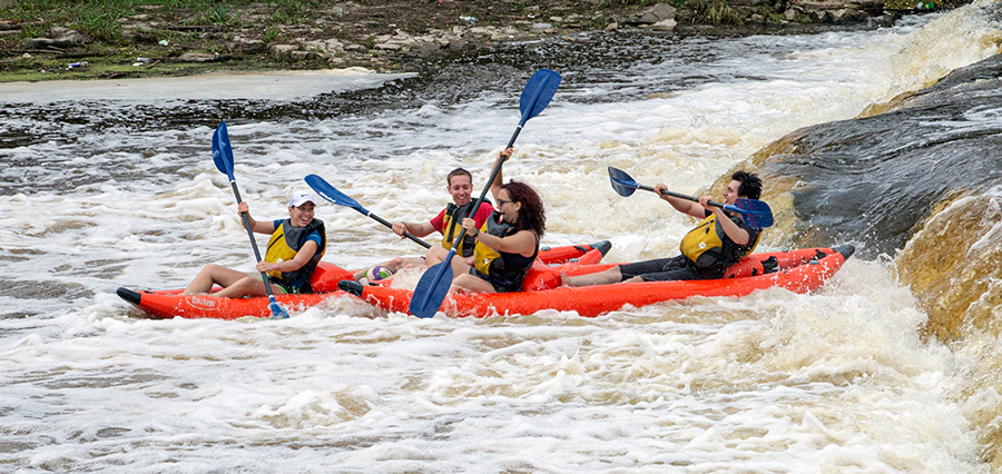 raft going over falls