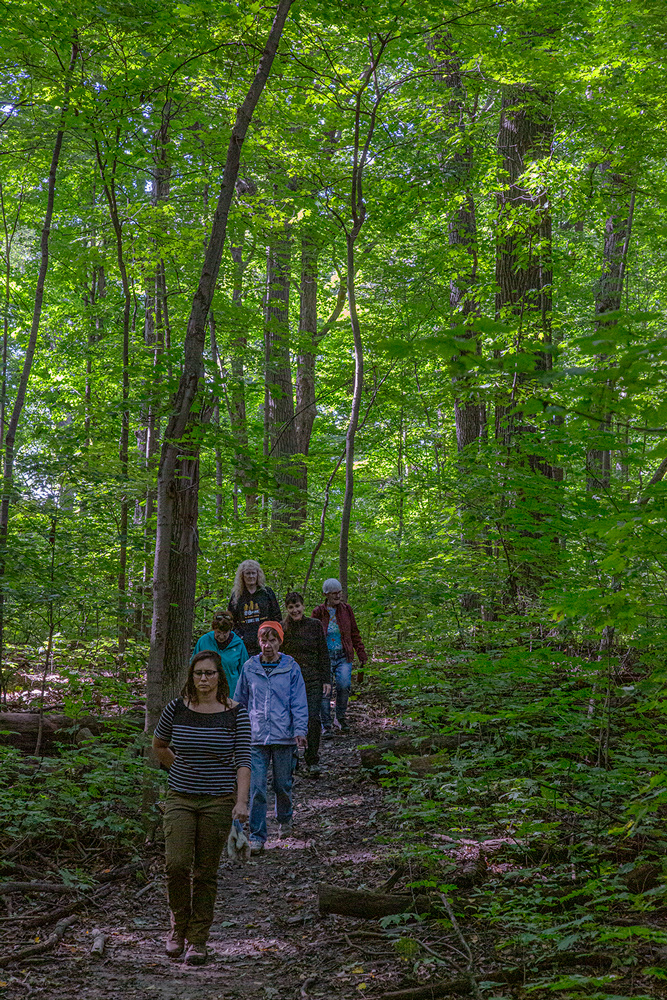 hikers on woodland trail at Cudahy Nature Preserve