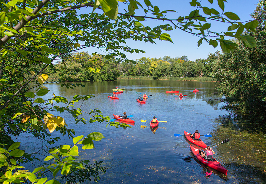 a flotilla of canoes in the lagoon at Washington Park, Milwaukee