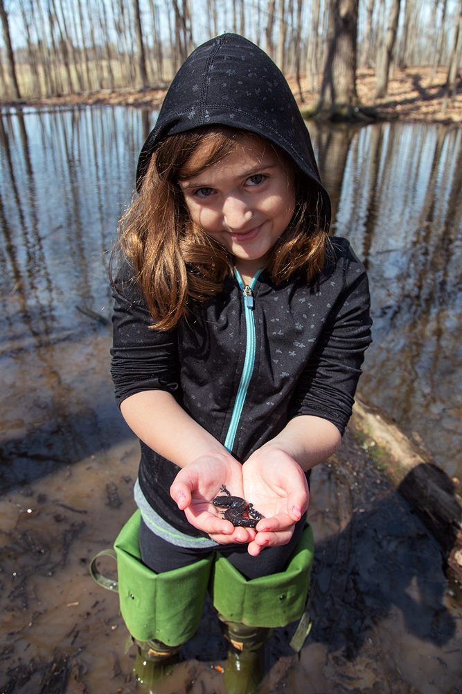 a young girl holding a salamander at a pond in Barloga Woods