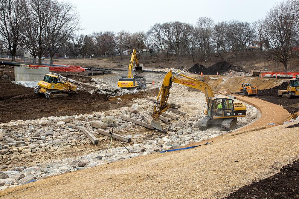 restoration in progress on the Kinnickinnic River in Pulaski Park