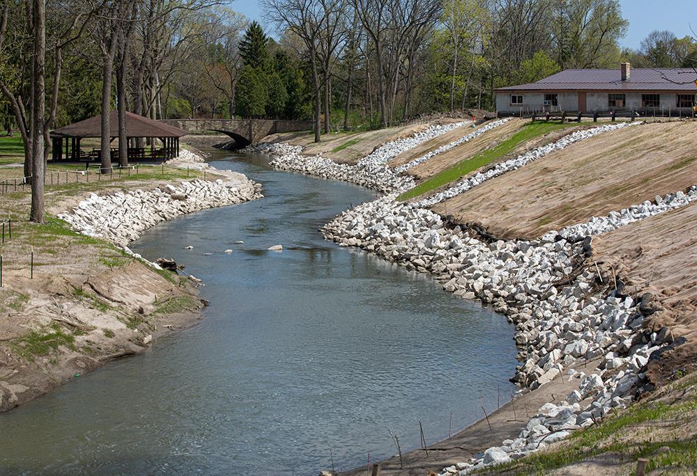 Pike River restoration project in Petrifying Springs County Park, Kenosha