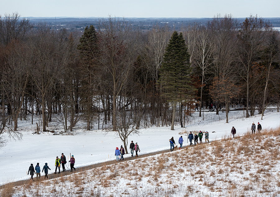 A group of hikers crosses a meadow on the accessible trail.