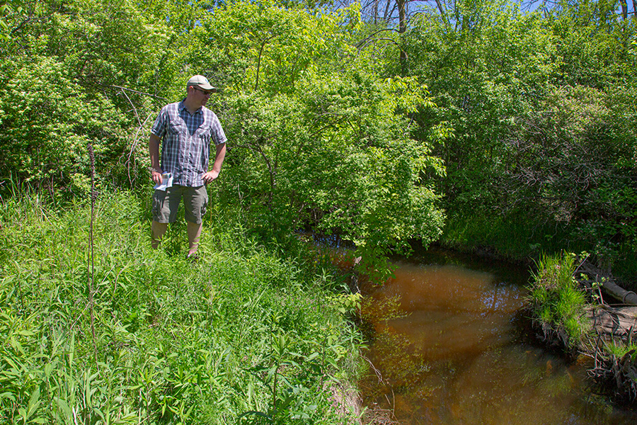 Ozaukee County Parks manager Matt Aho at Ulao Creek restoration site.