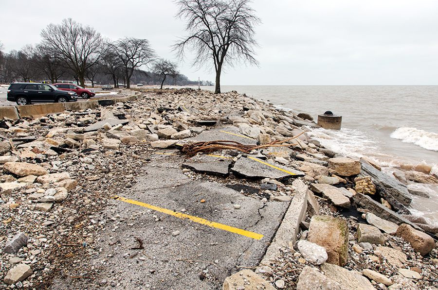 damage to parking lot at North Point on Milwaukee lakefront