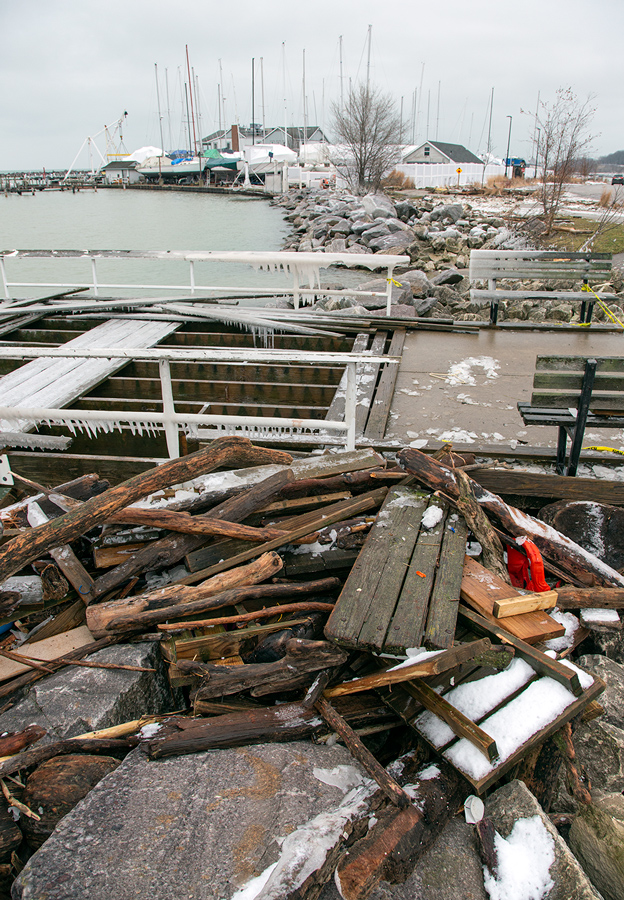 Storm damage at South Shore Marina in Milwaukee