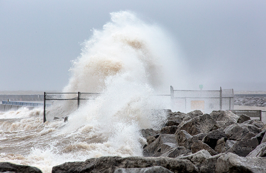 wave breaking over breakwater