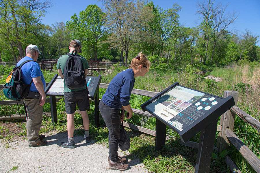 People viewing information plaques at Thiensville Fishway overlook.