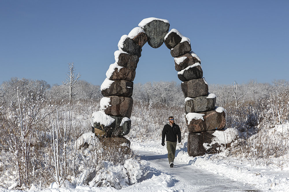 Rotary Centennial Arboretum archway in winter