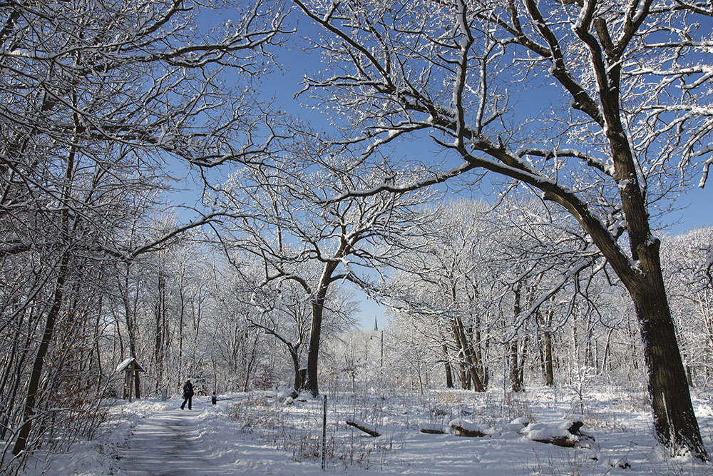 Mother and daughter in snow-covered Riverside Park