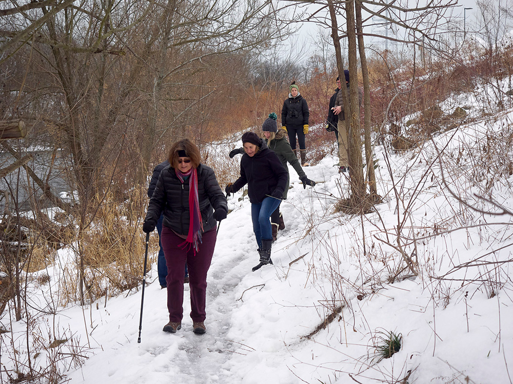 Hikers on the icy west bank trail