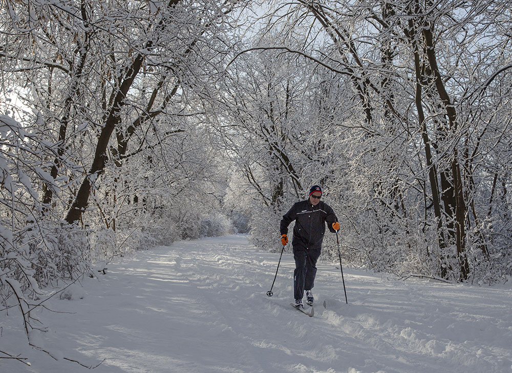 Skiing the Oak Leaf Trail near Hubbard Park