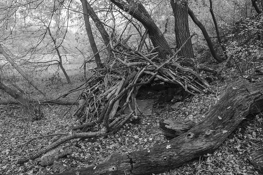 Stick fort in the Milwaukee River Greenway