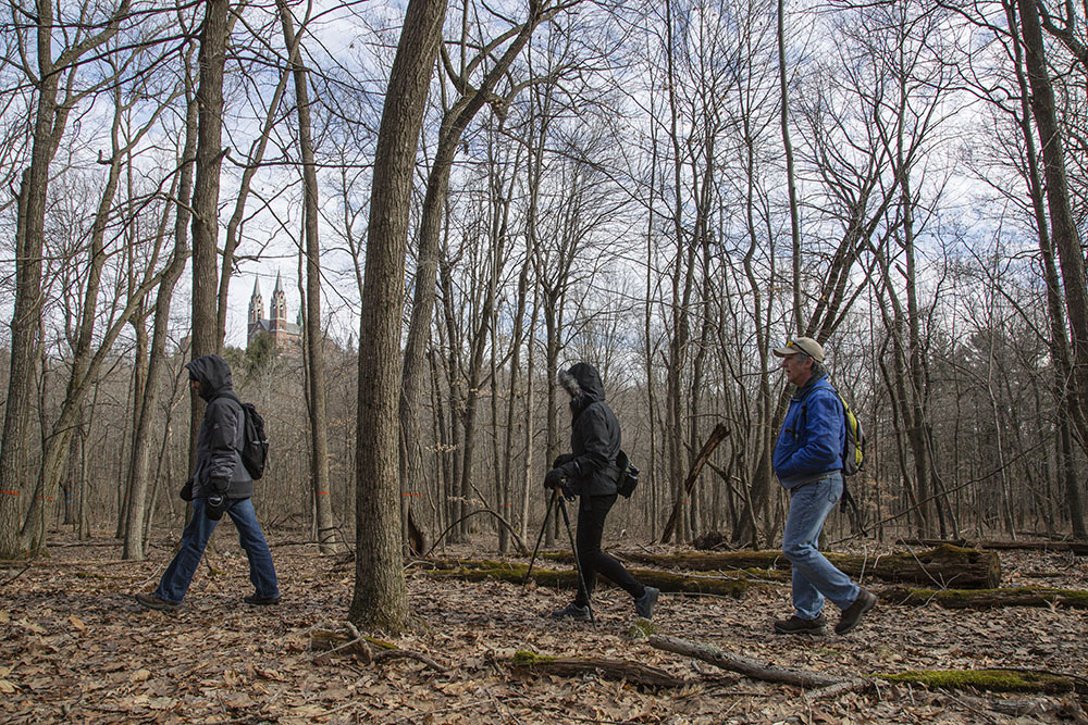 Three hikers on Ice Age National Scenic Trail - Holy Hill segment