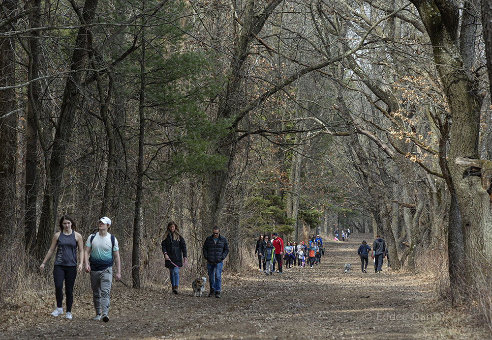 People hiking at Lapham Peak Unit - Kettle Moraine State Forest