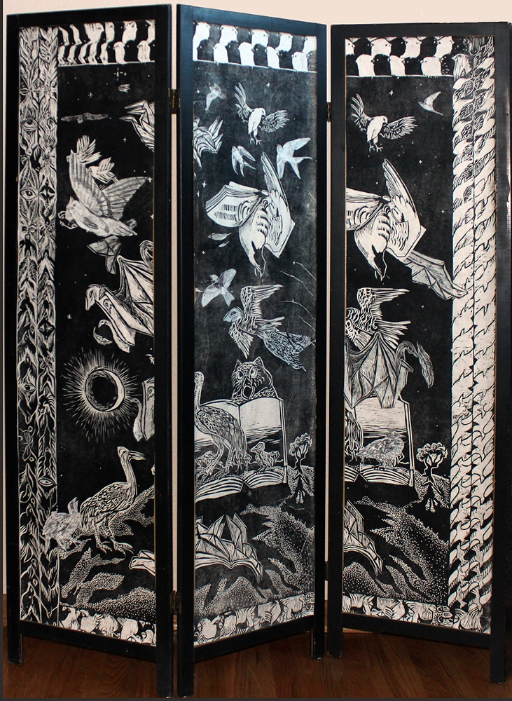"""Fly by Night,"" folding screen"