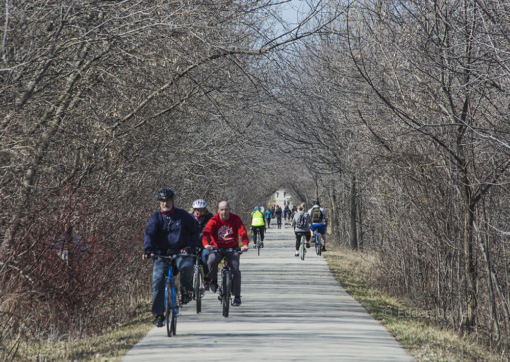 Telephoto lens makes the Eisenbahn State Trail in West Bend look even more crowded than it already is.