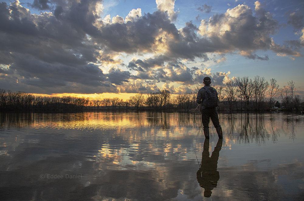 Fishing at sunset. Fox Brook Park, Brookfield.