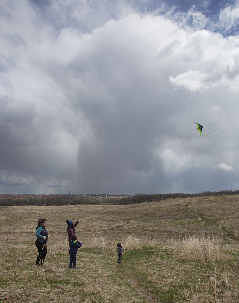 Kite flying on a very blustery day. County Grounds Park, Wauwatosa, WI.