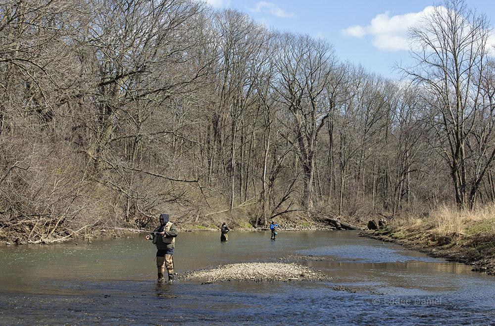 Trio of fishermen, Root River, Lincoln Park, Racine