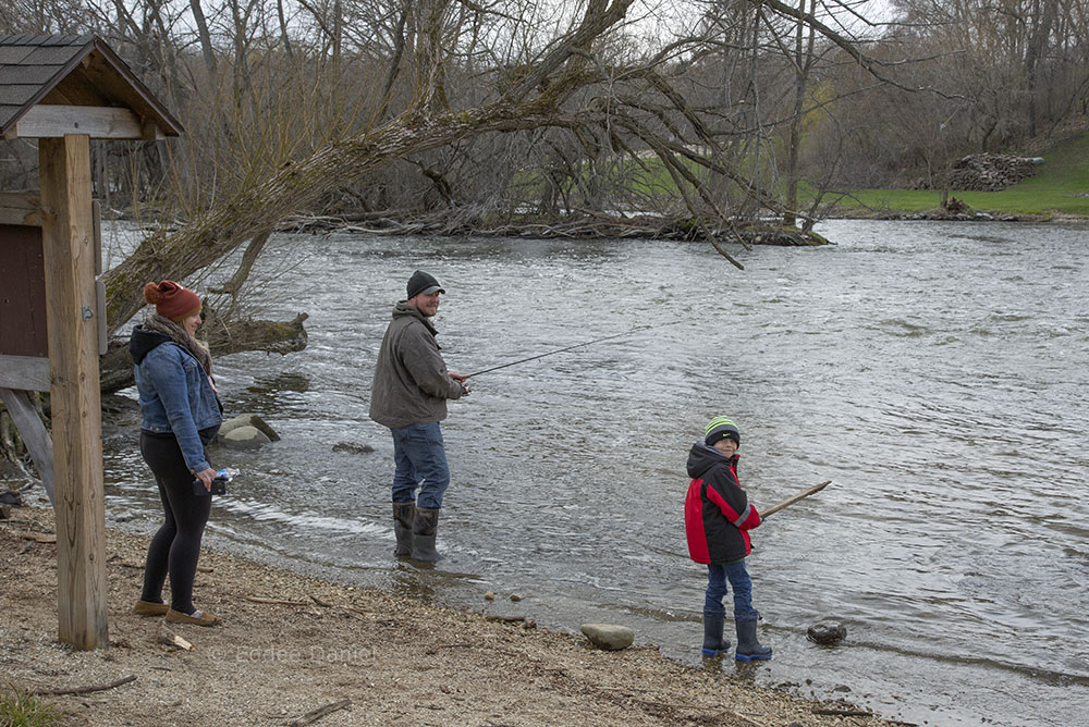 Family fishing the Fox River, Case Eagle Park, Rochester, WI.