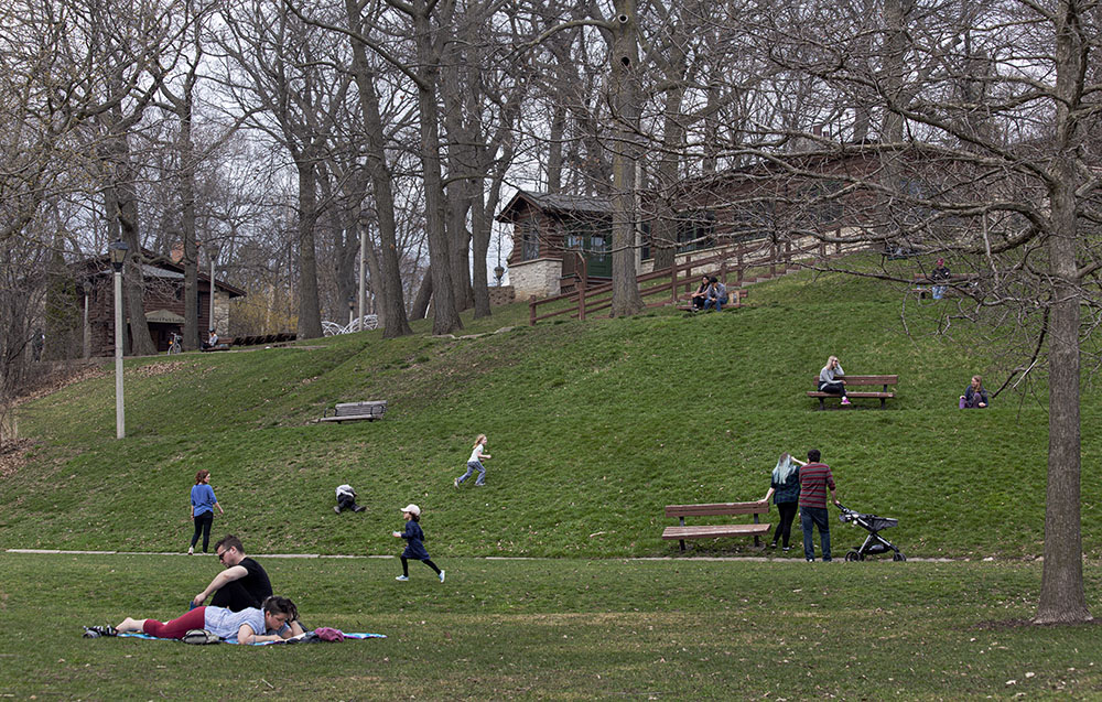 Frolicking at social distances at Hubbard Park, Shorewood.