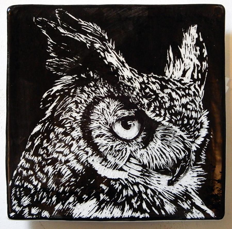 """Owl,"" ceramic sgraffito tile"