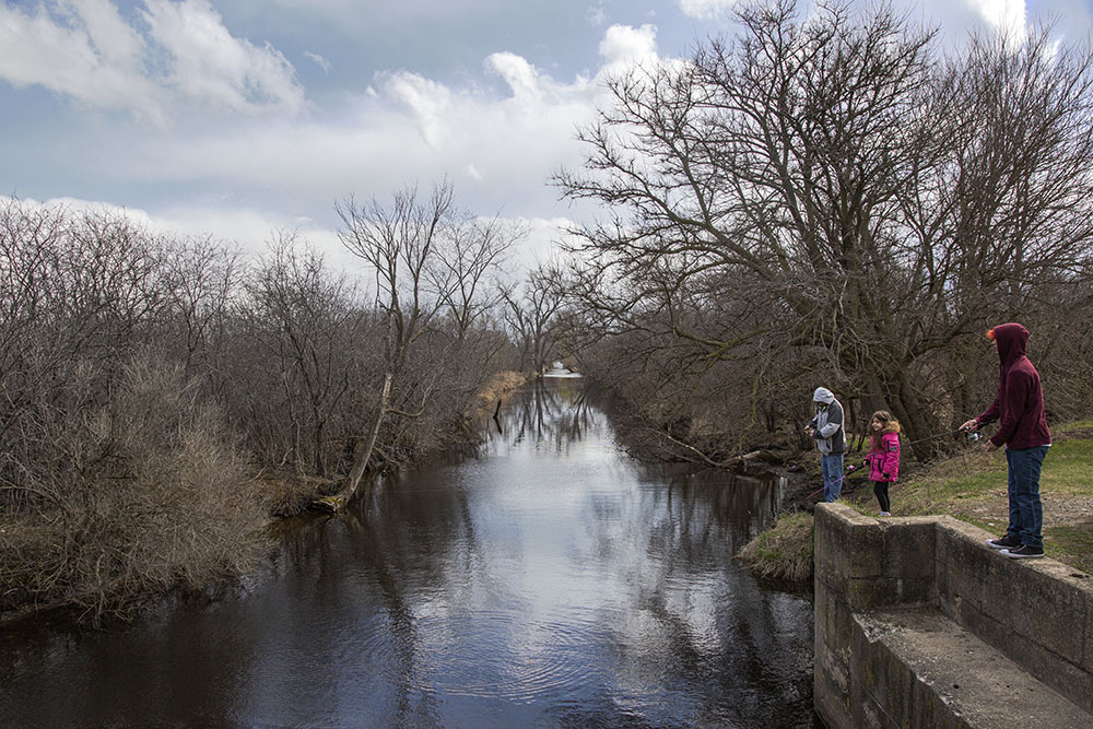 Another family fishing. Wind Lake Canal, Racine County, WI.